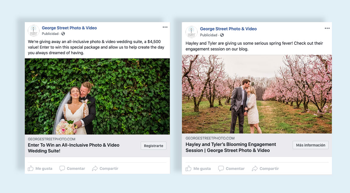 how to create a facebook ad visual images showcase your product service wedding photography facebook ad