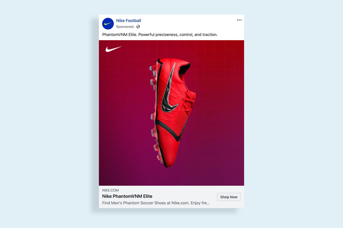 how to create a facebook ad visual images showcase your product nike ad