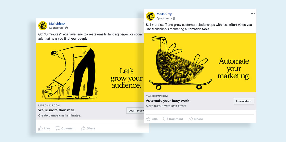 how to create a facebook ad visual images icons and illustrations mailchimp facebook ad