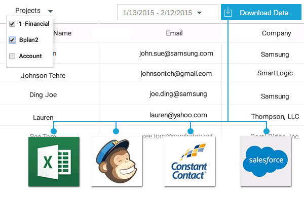 Collect contact information from Presentation and infographics and import to salesforce, mailchimp and constant contact