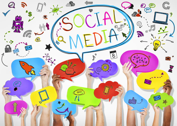 Social Media Graphic with Hands Holding Colorful Speech Bubble