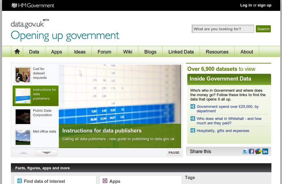 UK Government open data portal.