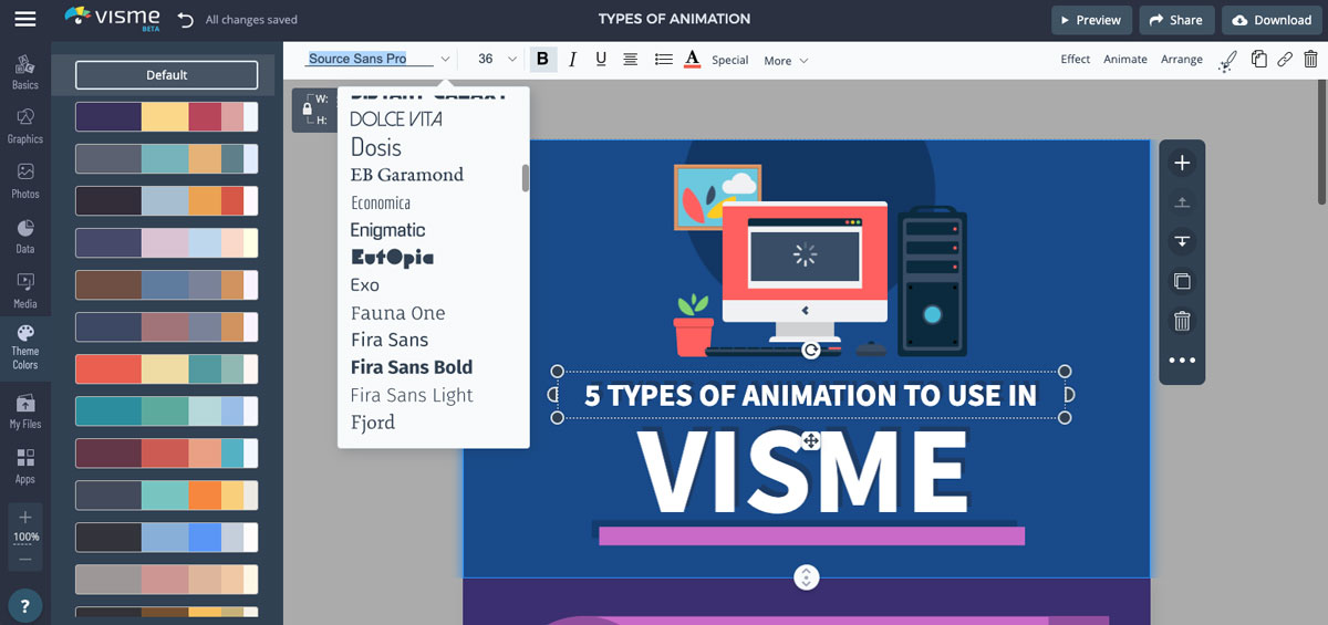 create animated infographics - customize fonts and colors