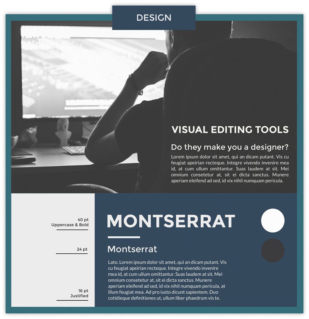 Design infographic with a photo of someone working on a computer using fonts Montserrat & Lato.
