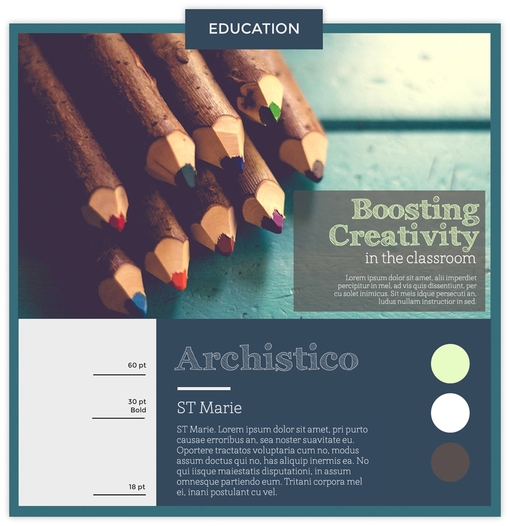 Education infographic with a photo of colored pencils using fonts Archistico and ST Marie.