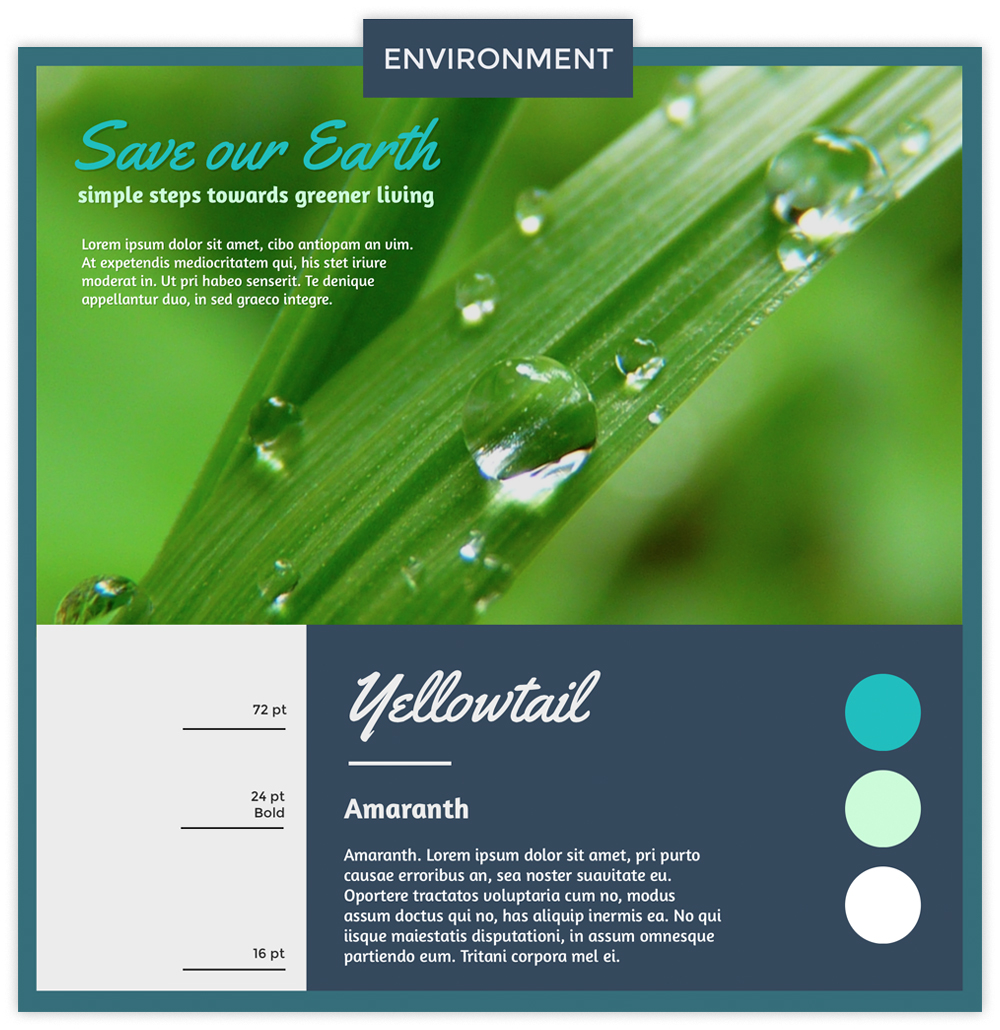 Environment infographic with a photo of a plant with dew drops using fonts Yellowtail and Amaranth.