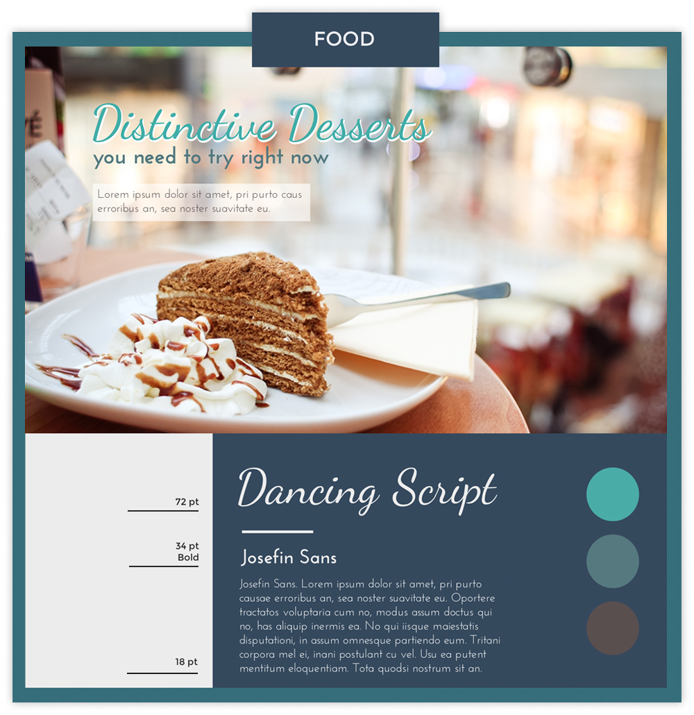 Food infographic with a photo of a slide of cake using fonts Dancing Script and Josefin Sans.