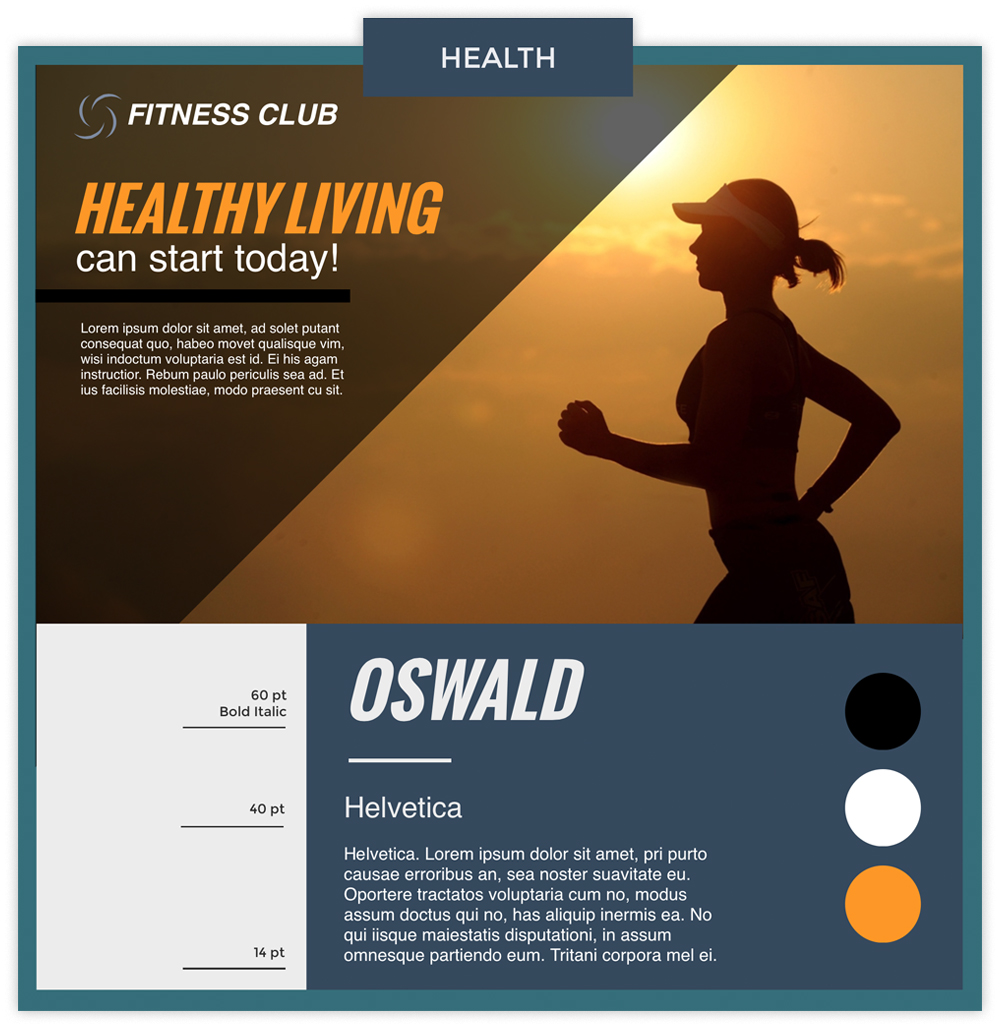 Health infographic with a photo of a woman running using fonts Oswald and Helvetica.