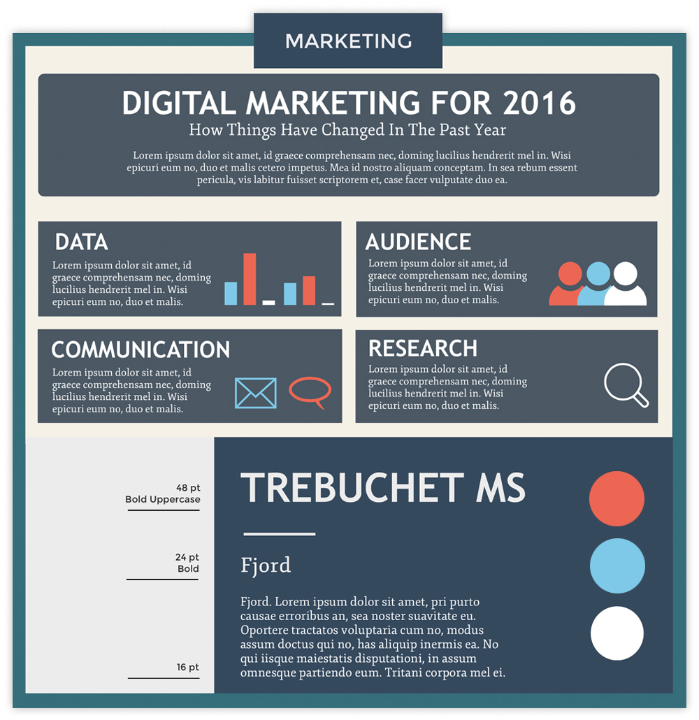 Marketing infographic with charts and icons using fonts Trebuchet MS and Fjord.