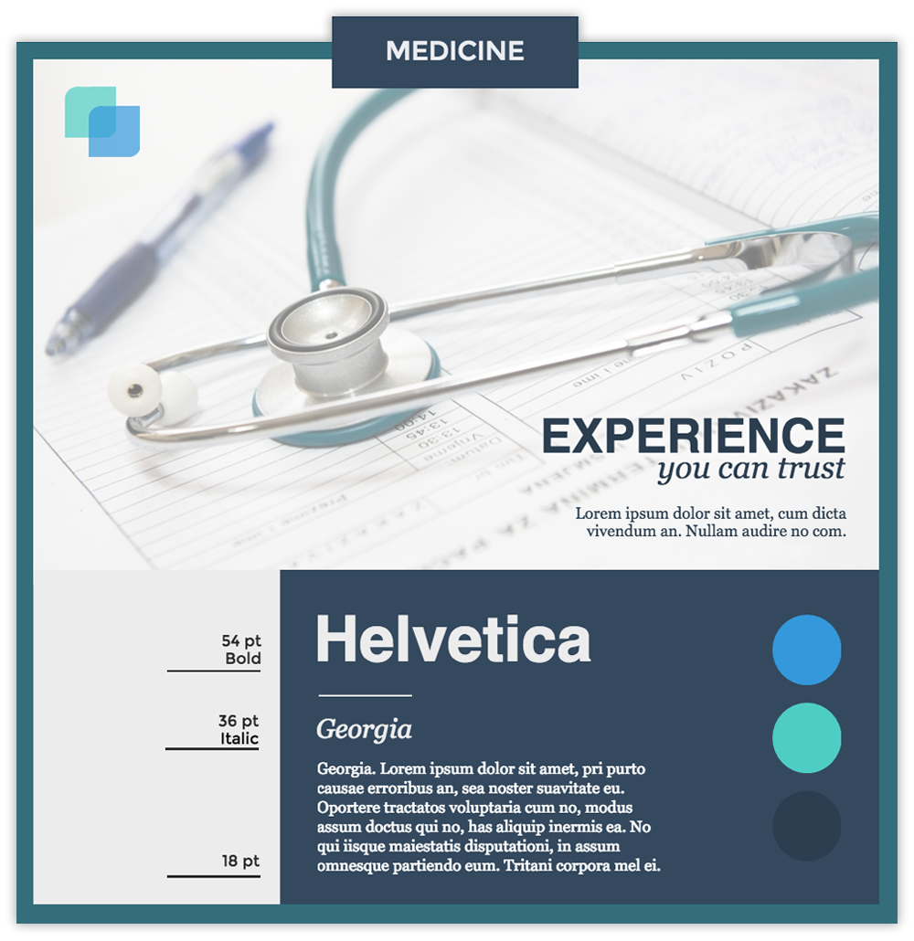 Medicine infographic with photo of a stethoscope using fonts Helvetica and Georgia.