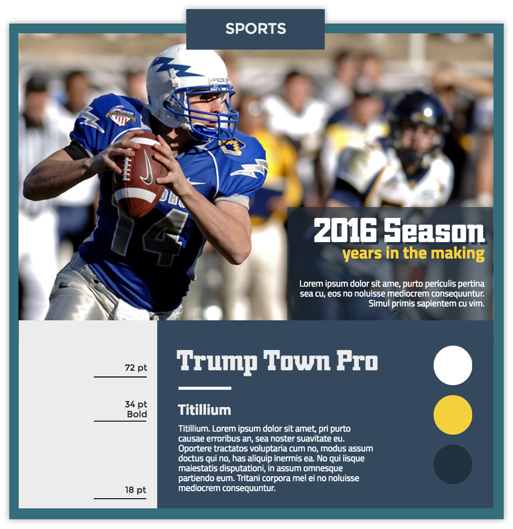 Sports infographic with a photo of a football playing using fonts Trump Town Pro and Titillium.