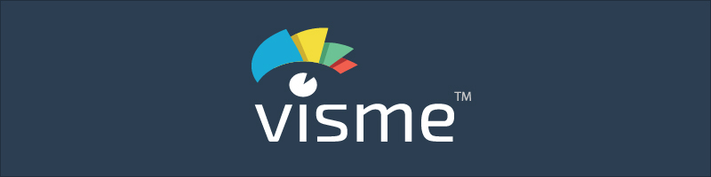 Visme's logo against a dark blue background