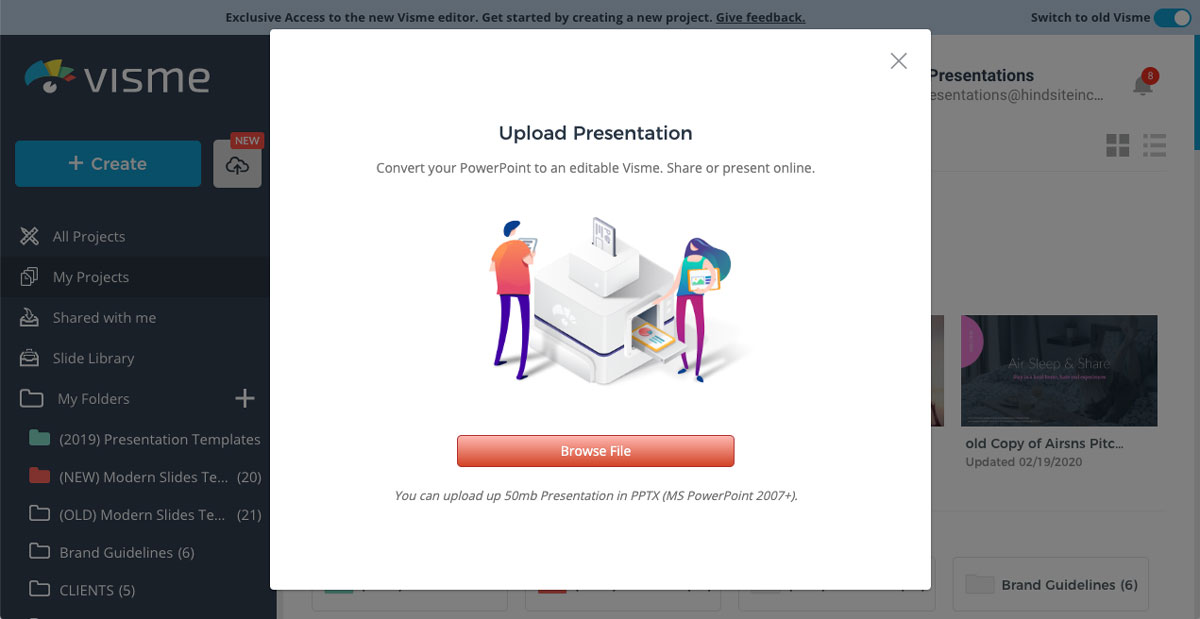 import powerpoint presentation into visme - import your powerpoint