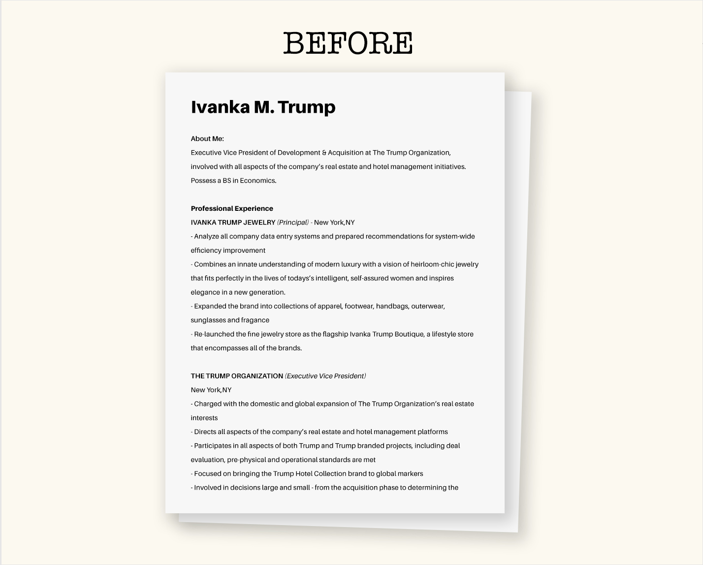 ivanka trump resume before
