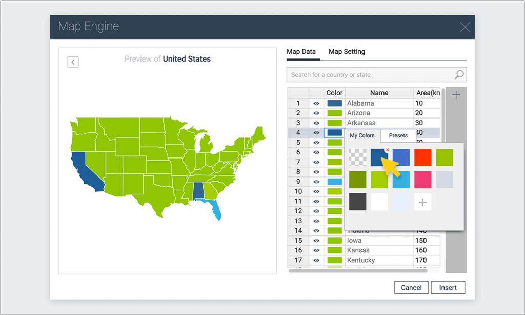 change color states visme map engine