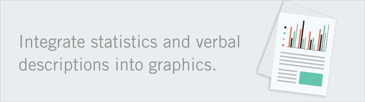 integrate statistics verbal descriptions into graphics