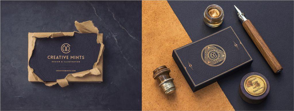 gold foil business card design