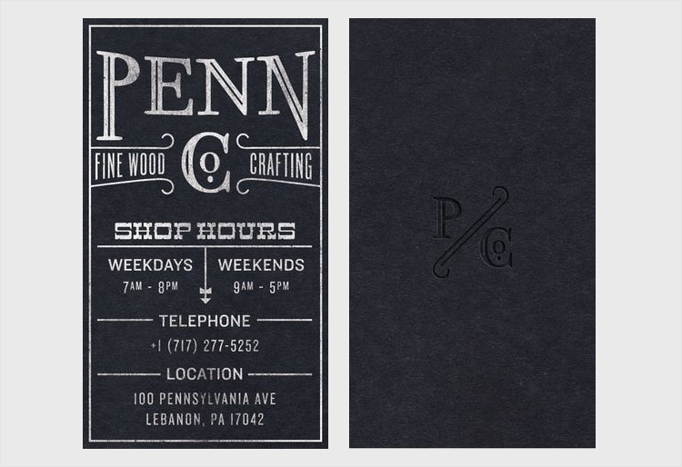 blind letterpress business card design