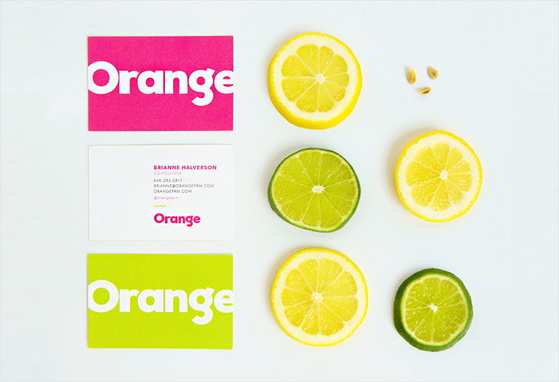 bright citrus colored business card design