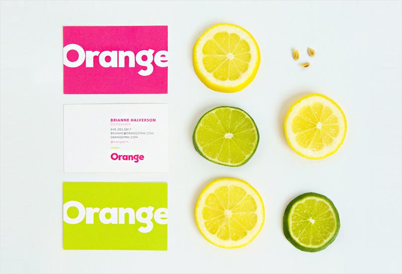 bright citrus colored business card design