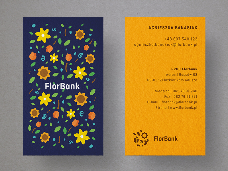 floral colorful business card design