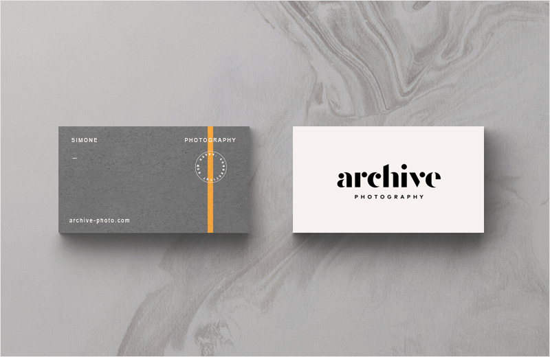 orange accent color business card design