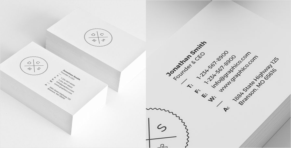 simple corporate black and white business card