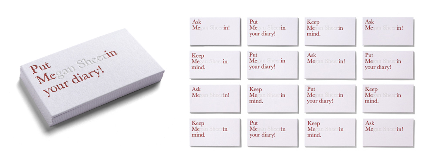 invisible typography business card design