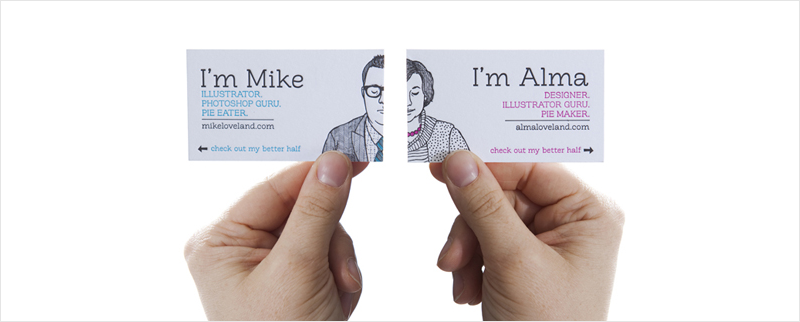 him and her business card design