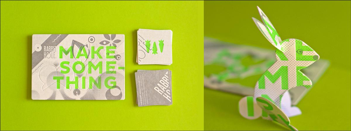 die cut business card design rabbit sculpture