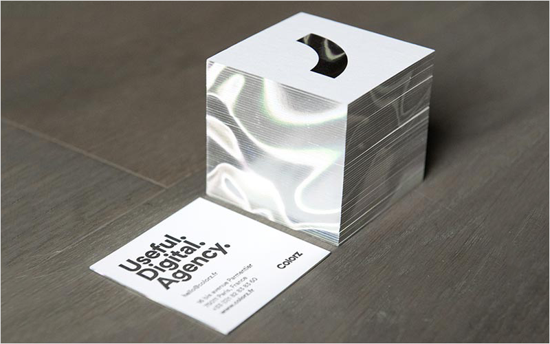 holographic foil edge business card design