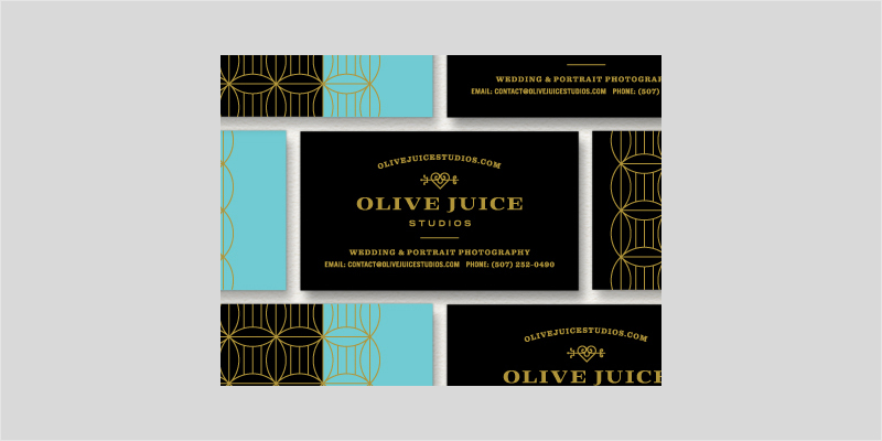 black and gold foil business card design