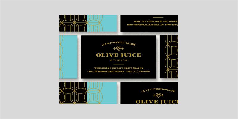 black and gold foil business card design