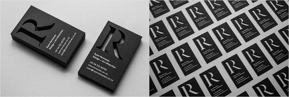 black and white die cut business card design