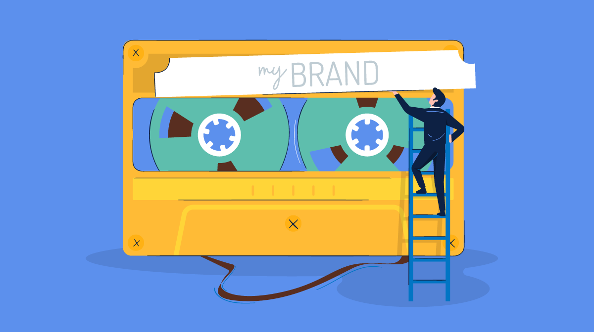 """Illustration of a man on a ladder adding a """"My Brand"""" sticker to a cassette tape"""