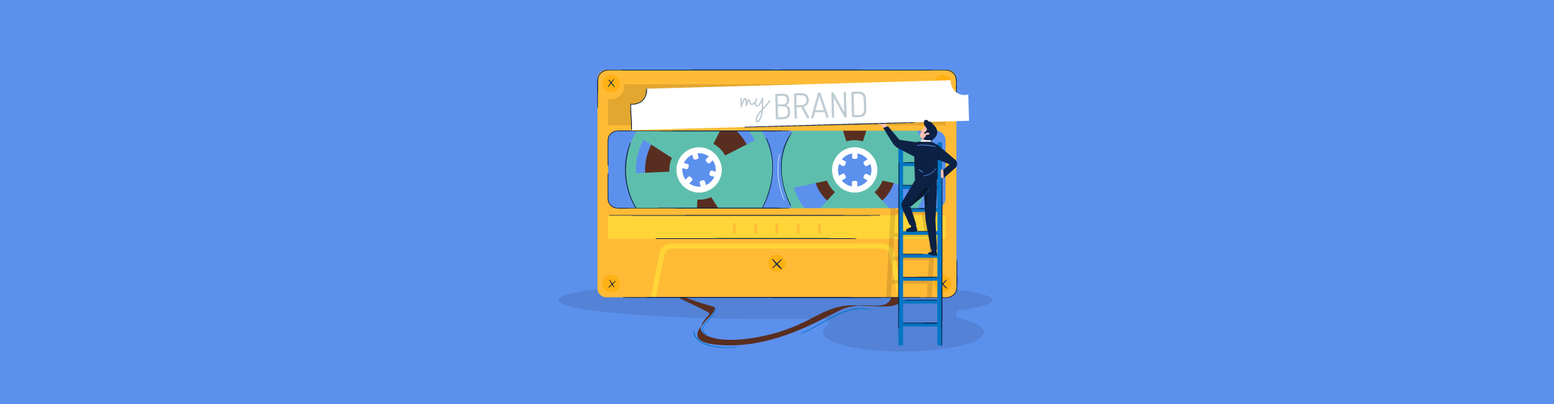 "Illustration of a man on a ladder adding a ""My Brand"" sticker to a cassette tape"