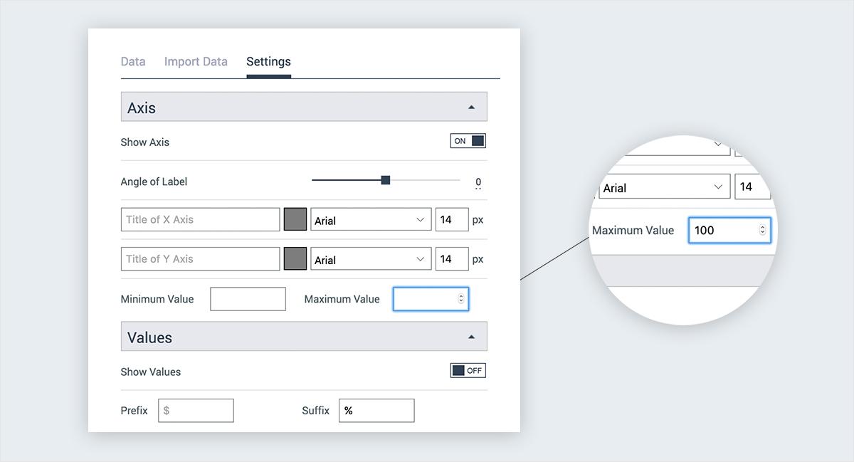 create chart visme axis customization settings