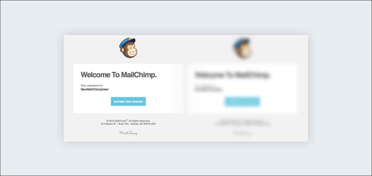 MailChimp squint test