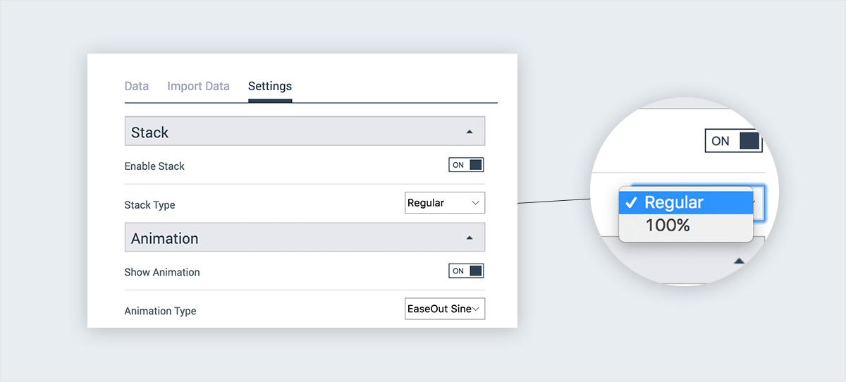 create chart visme stack customization settings
