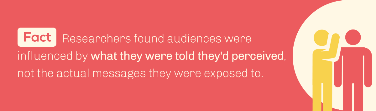 debunked 10 common myths about our visual brain fact researchers found audiences were influenced by what they were told they'd perceive, not the actual messages they were exposed to