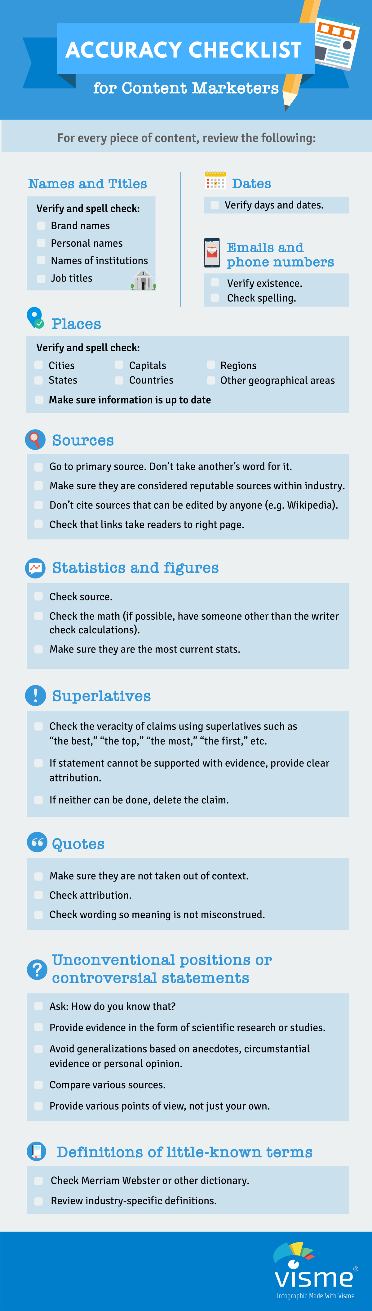 fact-checking checklist for content marketers infographic
