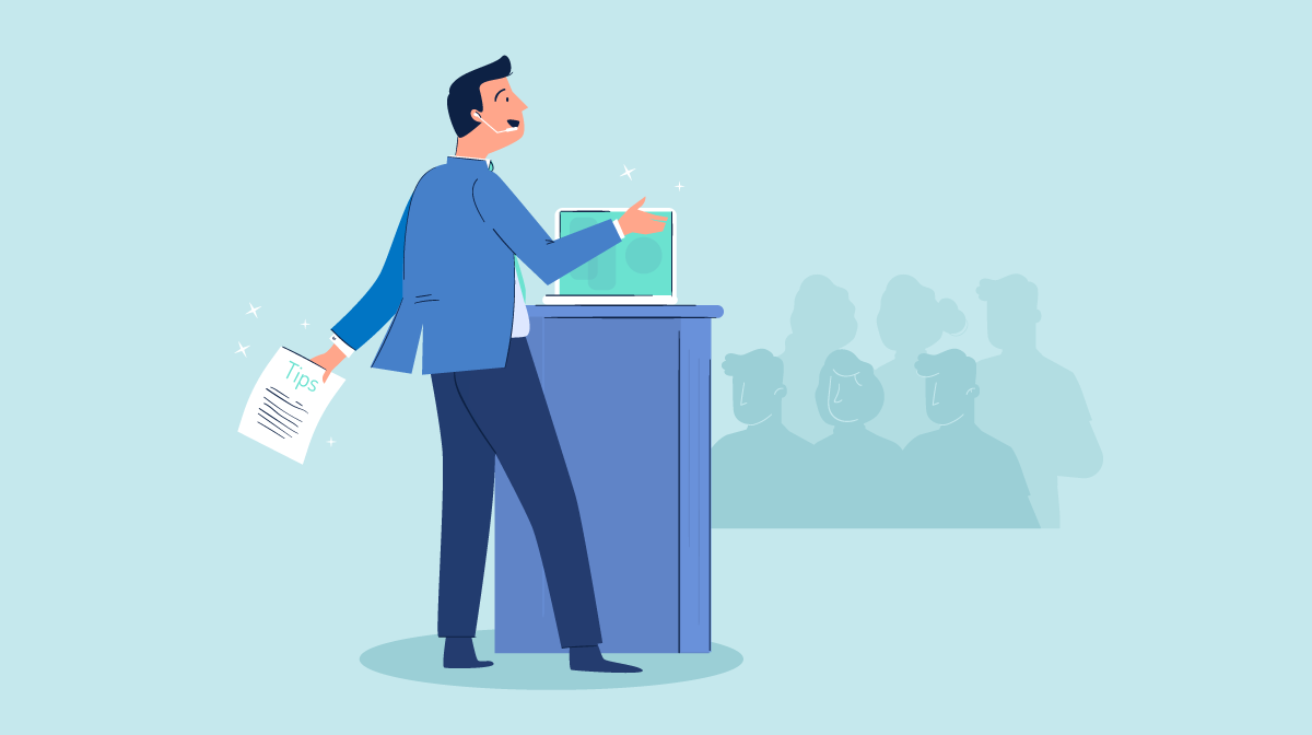 An illustration of a man speaking at a podium to an audience full of people.