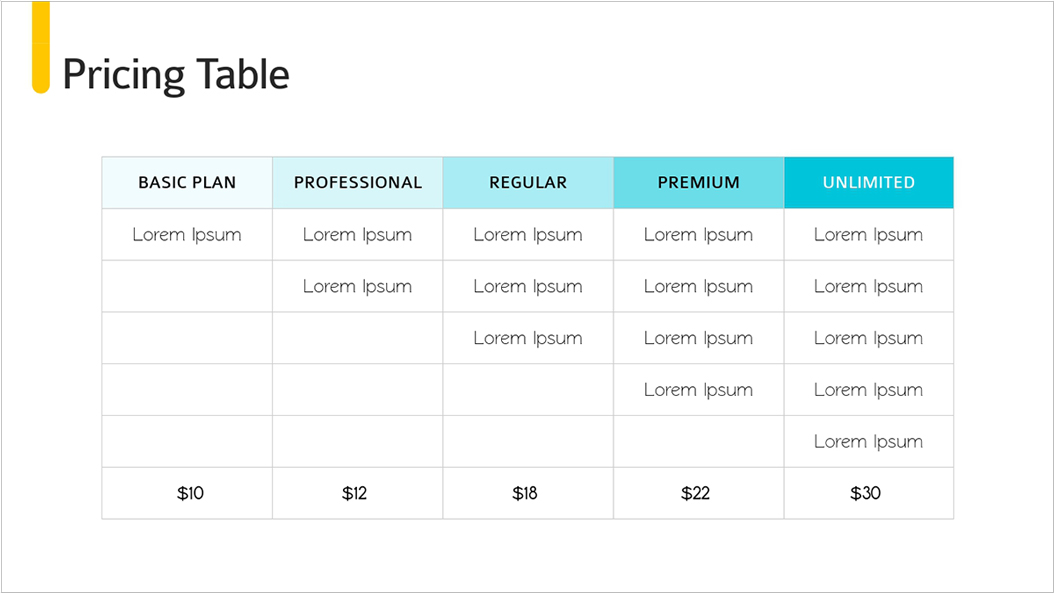 Investor-Pitch-Deck-Presentation-Template-Pricing-Table presentation theme