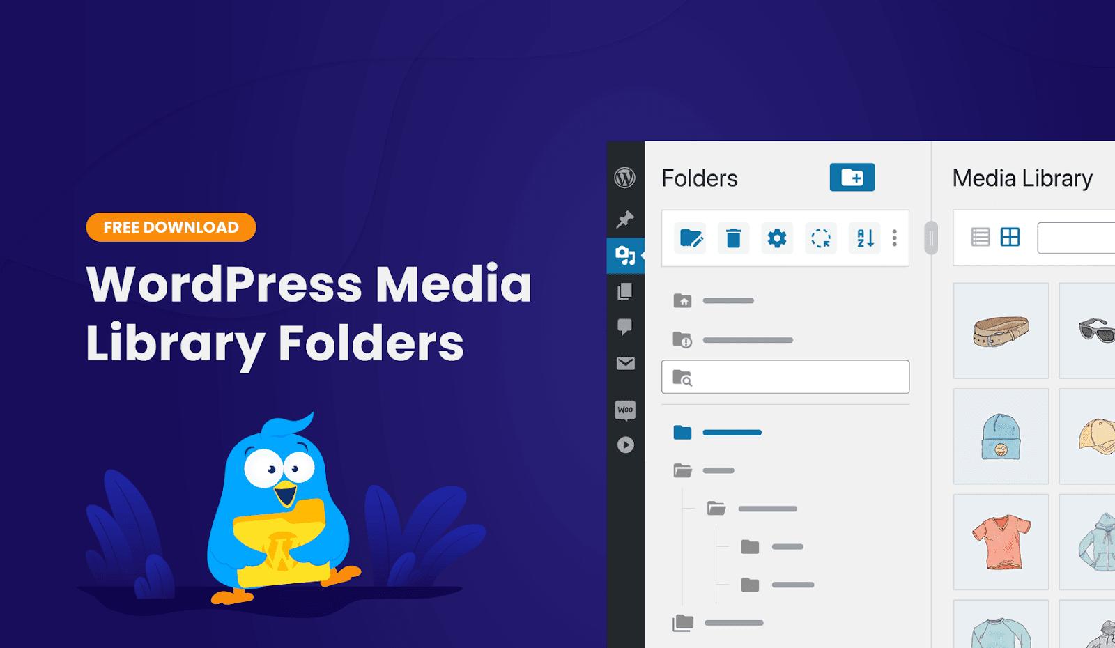 A graphic showcasing FileBird's WordPress media folder.