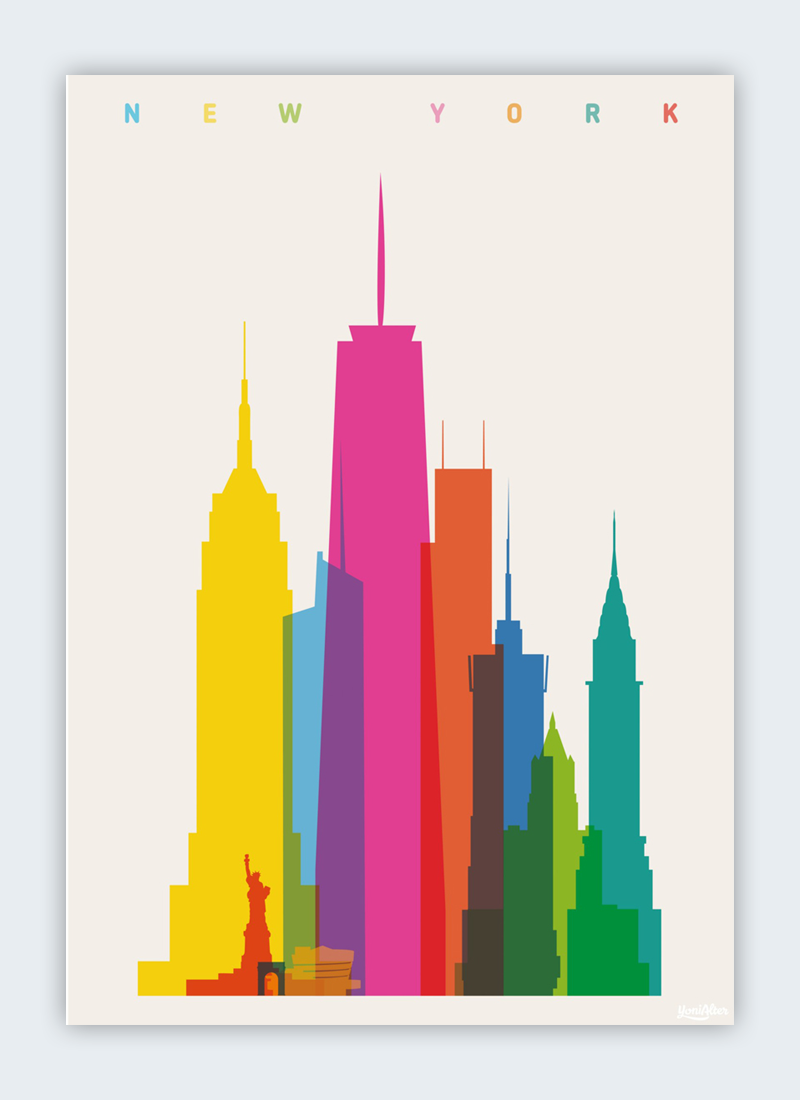 An illustration with differently sized buildings from New York's skyline.