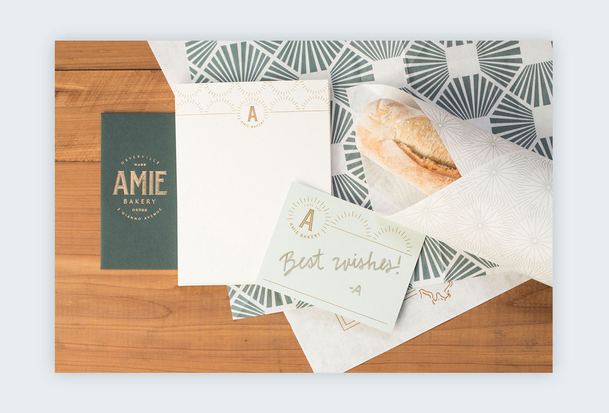 Branding materials with different geometric patterns on each.