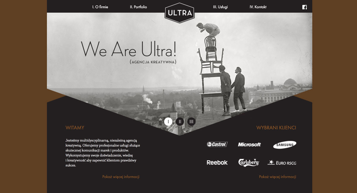 A web page with a photo fit into a geometric shape.