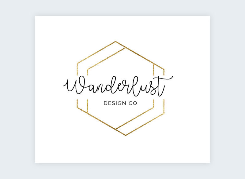 A geometric logo created with gold foil hexagons overlapping each other.
