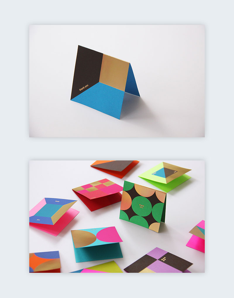 Greeting card designs created only by using a handful of different shapes.