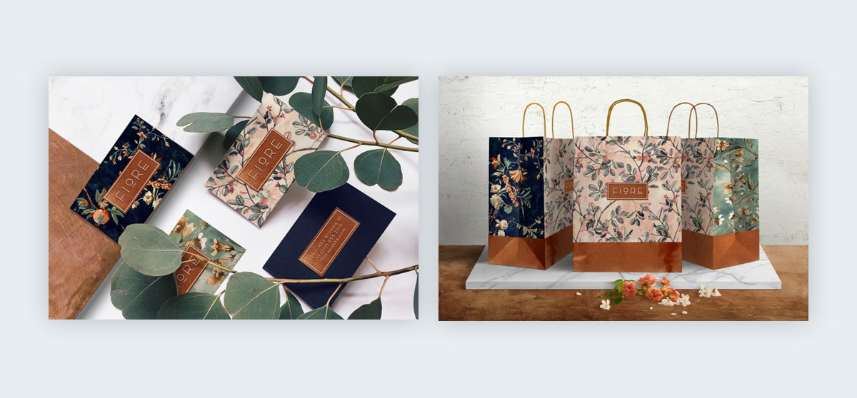 A mixture of complex patterns with simple geometric shapes on business cards and gift bags.